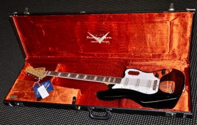 Fender Case - G&G Black Bass VI Custom Shop Crushed Velvet Embroidered CS Logo