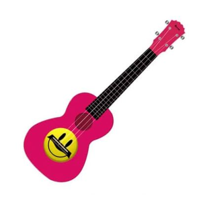 Kealoh Concert Uke AUP24/28 (PINK W/SMILEY FACE)