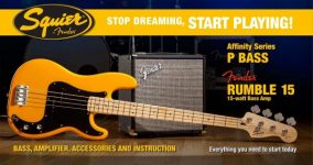 Squier Precision Bass by Fender Guitar Pack - + Rumble 15