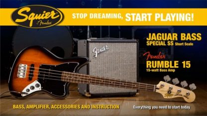 Squier Jaguar Bass by Fender Guitar Pack + Rumble 15