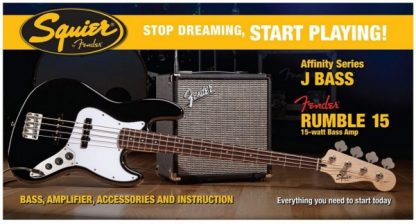 Squier by Fender Jazz Bass Pack + Rumble 15 Black