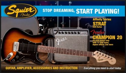 Squier Stratocaster by Fender Guitar Pack - HSS + Champ 20