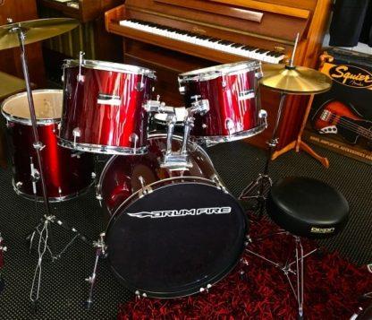 DrumFire DK7500 5 Piece Drum Set Package - Black or Red